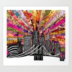 Linocut New York Blooming Art Print