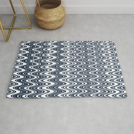 Classic blue waves, vertical wavy outline, abstract river flow Rug