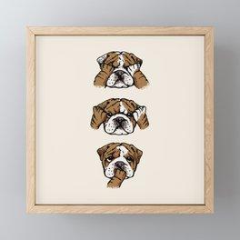 No Evil English Bulldog Framed Mini Art Print