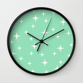 Mid Century Modern Star Pattern 443 Mint Green Wall Clock