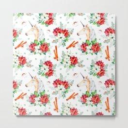 Colorful Christmas unicorn and flowers Metal Print