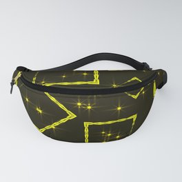 Yellow diamonds and squares at the intersection with the stars on a dark background. Fanny Pack