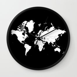 Minimalist World Map White on Black Background. Wall Clock