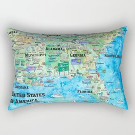 USA Southern States Travel Poster Map Florida Louisiana Mississippi Arkansas Carolinas Georgia Rectangular Pillow