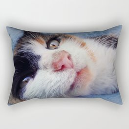 striped kitten laying Rectangular Pillow