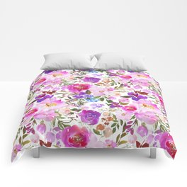 Elegant blush pink violet lavender watercolor summer floral Comforters