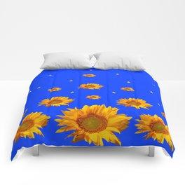 RAINING GOLDEN STARS YELLOW SUNFLOWERS BLUES Comforters