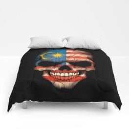 Dark Skull with Flag of Malaysia Comforters