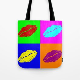 Colorful pop art lipstick kiss Tote Bag