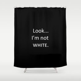 white: black Shower Curtain