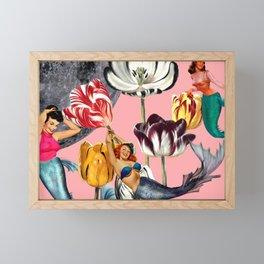 Mermaid Floral with moon Framed Mini Art Print