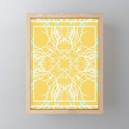 Mustard and White Neon Boho Mandala Framed Mini Art Print