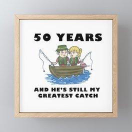 Anniversary 50 Couple Fishing Wife Husband Gift Framed Mini Art Print