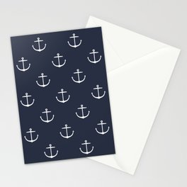 Yacht style. Anchor. Navy blue. Stationery Cards
