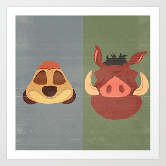 Timon and Pumbaa Art Print