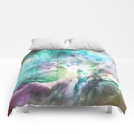 Abstract teal pink cosmic nebula space galaxy Comforters