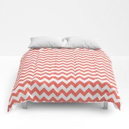 Living Coral Chevron Stripes Comforters
