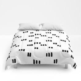 Line Dot Black Paint on Paper Comforters