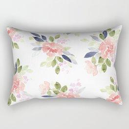 Peach & Nvy Watercolor Flowers Rectangular Pillow