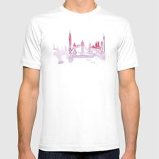 Watercolor landscape illustration_London White Mens Fitted Tee MEDIUM