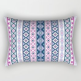 Aztec Stylized Pattern Blues Pinks Purples White Rectangular Pillow