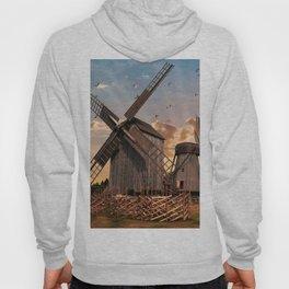 Traditonal dutch windmills at sunrise Hoody