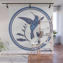 Delft Blue Humming Birds & Leaves Pattern Wall Mural