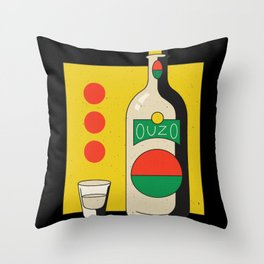 Ouzo Bottle Alcohol Design Throw Pillow