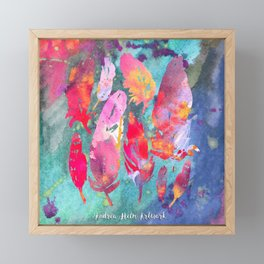 Teal & Pink Watercolor Feather Collage Framed Mini Art Print