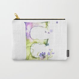 Letter E watercolor - Watercolor Monogram - Watercolor typography - Floral lettering Carry-All Pouch