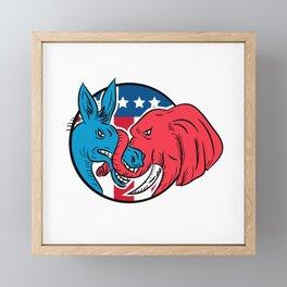 Donkey Biting Elephant Trunk American Flag Drawing Framed Mini Art Print