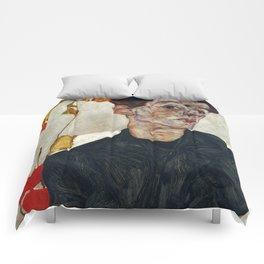 "Egon Schiele ""Self-Portrait with Physalis"" Comforters"