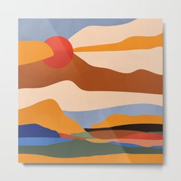 The Red Sun #art print #illustration Metal Print