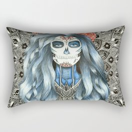 Full Page Day of the Dead Woman Mandala Rectangular Pillow
