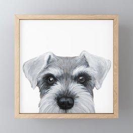 Schnauzer Grey&white, Dog illustration original painting print Framed Mini Art Print