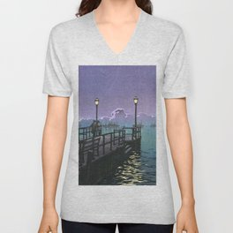 Kawase Hasui - Collection Of Scenic Views Of Japan, Hachinohe - Digital Remastered Edition Unisex V-Neck