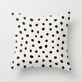 Modern Polka Dots Black on Light Gray Throw Pillow