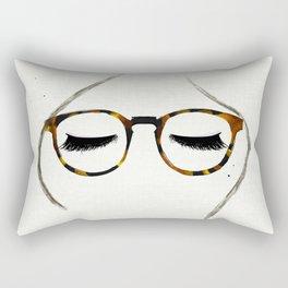 Tortoiseshell Glasses Brunette Rectangular Pillow