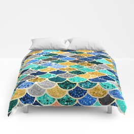 Glitter Blue, Aquas, and Gold Mermaid Scales Pattern Comforters