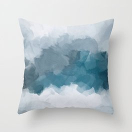 Blue Gray Navy Indigo Abstract Snow Mountain Nature Winter Rustic Painting Art Print Wall Decor  Throw Pillow