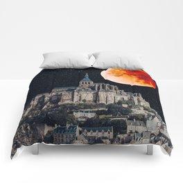 Blood Moon Over Mont-Saint-Michel Comforters