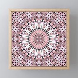 Pink Floral Gravel Mandala Framed Mini Art Print