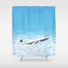 Plane through clouds Shower Curtain