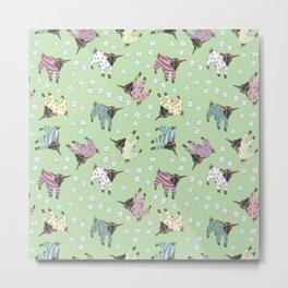 Pajama'd Baby Goats - Green Metal Print