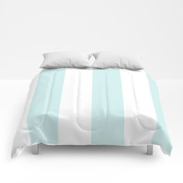 Wide Vertical Stripes - White and Light Cyan Comforters