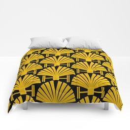 Art Deco Gold Palm Fan Pattern Comforters