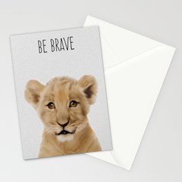 Lion Cub Print, Safari Nursery Decor, Baby Animal, Kids Art Stationery Cards