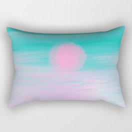 Abstract lavender teal pink watercolor sunset Rectangular Pillow