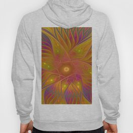 Colorful and Luminous Flower, Abstract Fractal Art Hoody