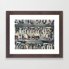 Aerial view of trucks Framed Art Print